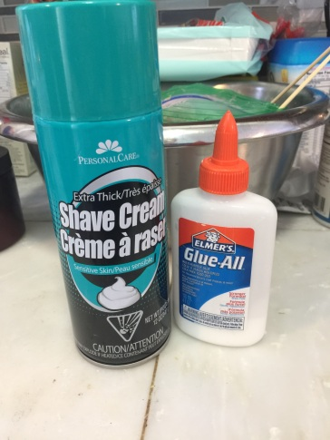 Shaving Cream & Glue, plus the food coloring of your choice